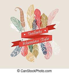 bohemio, estilo, colorido, plumas, gitano, cartel