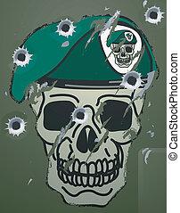 boina, motivo, retro, cráneo, militar