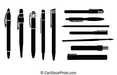 bolígrafo, vector, pluma, ilustración