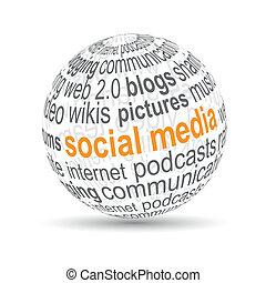 """Bola 3D """"medios sociales"""""""