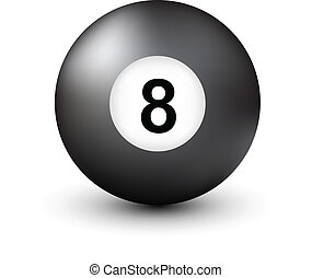 bola 8, número, piscina