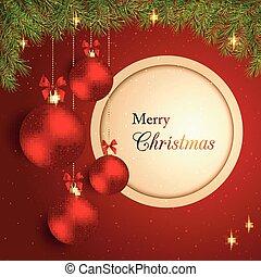 Bola de cristal de Navidad brillante en el fondo rojo