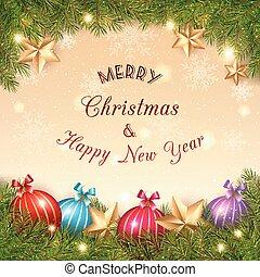 Bola de cristal de Navidad brillante sobre fondo dorado