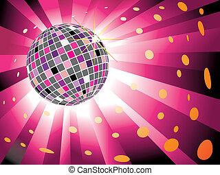 Bola de disco brillante en el fondo de la luz magenta
