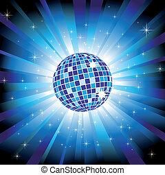 Bola de disco brillante en la luz azul estallan y brillan estrellas