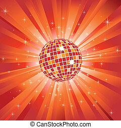 Bola de disco brillante sobre luz naranja reventada y estrellas brillantes