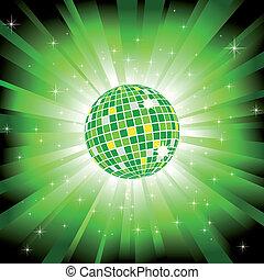Bola de disco brillante sobre luz verde estalla y estrellas brillantes