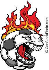 Bola de fútbol con imagen de vector de pelo en llamas