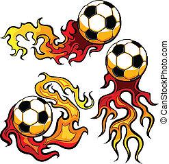 Bola de fútbol en llamas