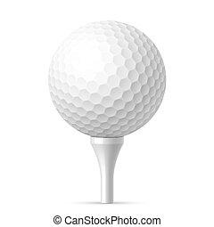 Bola de golf en tee blanco