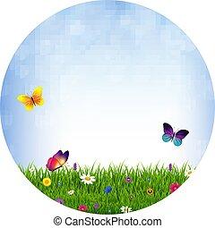 Bola de hierba y flores