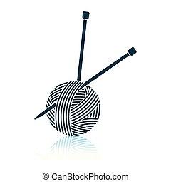 Bola de hilo con icono de agujas de tejer