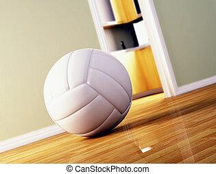 Bola de voleibol en el piso de madera