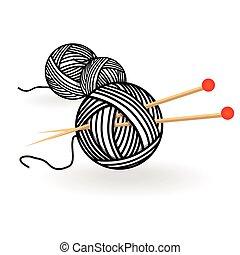 Bola dibujada a mano con agujas para tejer. Vector ilustración vintage en blanco y negro