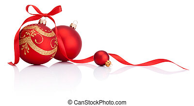 Bolas de decoración de Navidad rojas con moño de lazo aislado en fondo blanco
