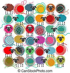 Bolas de lana y composición cuadrada de ovejas