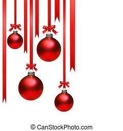 Bolas de Navidad colgando con cintas en blanco