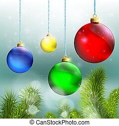 Bolas de Navidad y árbol de Navidad en un fondo de cubierta de nieve