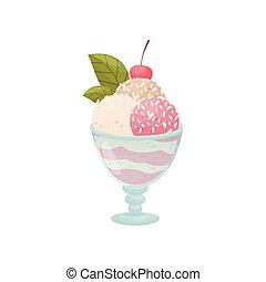 Bolas rosas de helado en un tazón de vidrio en la pierna. Ilustración de vectores sobre fondo blanco.