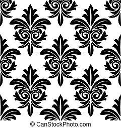 Bold foliate arabesque motif en blanco y negro