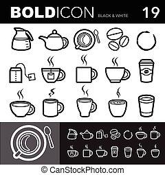 Bold line iconos establecidos.Illustracion eps 10