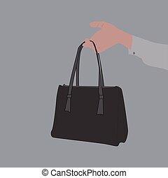 bolsa, blanco, mano, fondo., tenencia, vector, ilustración