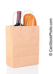 Bolsa con pan y vino