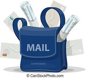 Bolsa de correo con icono sobre carta