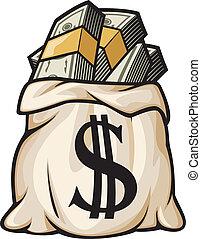 Bolsa de dinero con signo de dólar