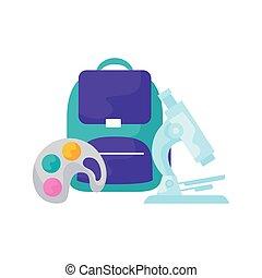 Bolsa de la escuela con microscopio y pintura de paleta