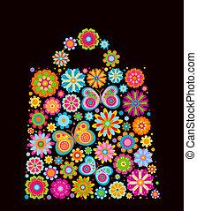 bolsa, forma, flores