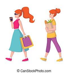 bolsa, jengibre, mujer, café, pelirrojo, mano, tienda de comestibles, va, girl., clothes., lleva, comestibles, dama, comprar, store., gafas de sol, papel, pelo, compras