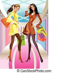 bolsa, niña, moda, compras, dos