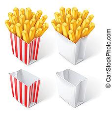 bolsa, papel, pedacitos, frito