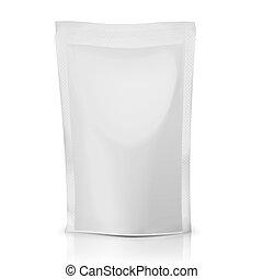 bolsa, polietileno, package., blanco