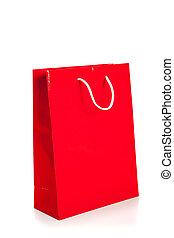 Bolsa roja de compras en blanco