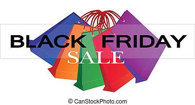 bolsas, compras, colorido, viernes, papel, negro, promoción