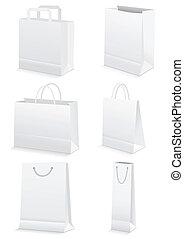 bolsas, compras de la tienda de comestibles, y, papel, blanco