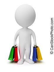 bolsas, compras, gente, -, pequeño, llevar, 3d