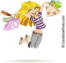 bolsas, compras, shopaholic, plano de fondo, niña, blanco