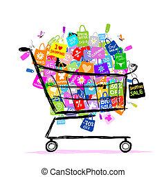 bolsas, concepto, compras, grande, venta, diseño, cesta, su