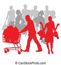 bolsas, concepto, compras, resumen, venta, carrito, vector, plano de fondo, hombre, mujeres