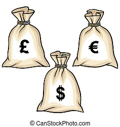 bolsas, dólares, dinero, vector, pound., euro