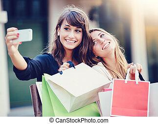 "bolsas de compras, ""selfie"", niñas, toma, hermoso"