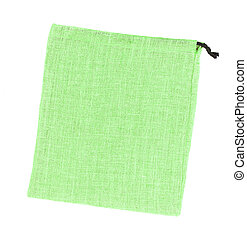 Bolsas de paño verde aisladas en fondo blanco