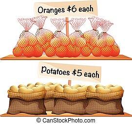 Bolsas de patatas y naranjas