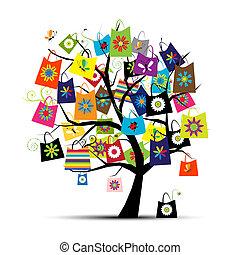 bolsas, diseño, compras, su, árbol