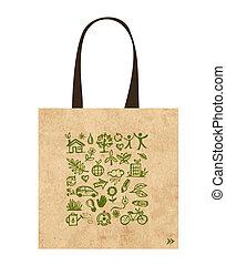 bolsas, iconos, ecológico, papel, verde, diseño