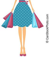 bolsas, niña, compras
