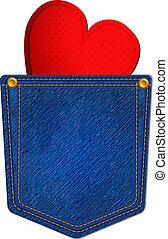 Bolsillo azul con corazón